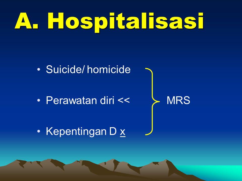 A. Hospitalisasi Suicide/ homicide Perawatan diri << MRS