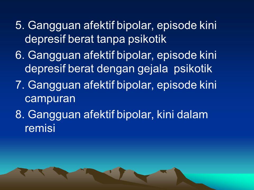 5. Gangguan afektif bipolar, episode kini depresif berat tanpa psikotik