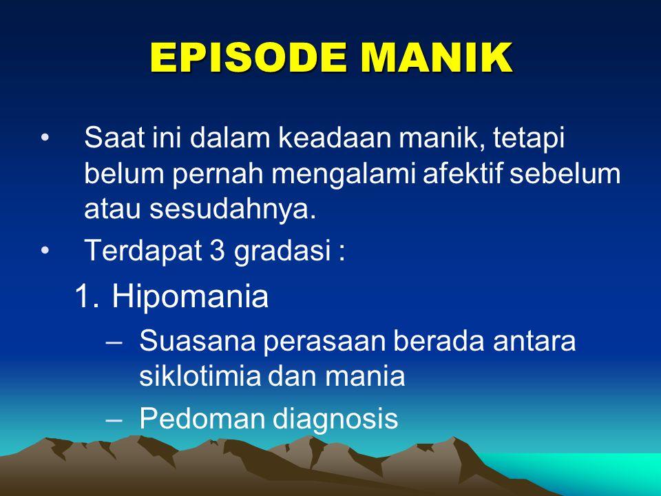 EPISODE MANIK Hipomania