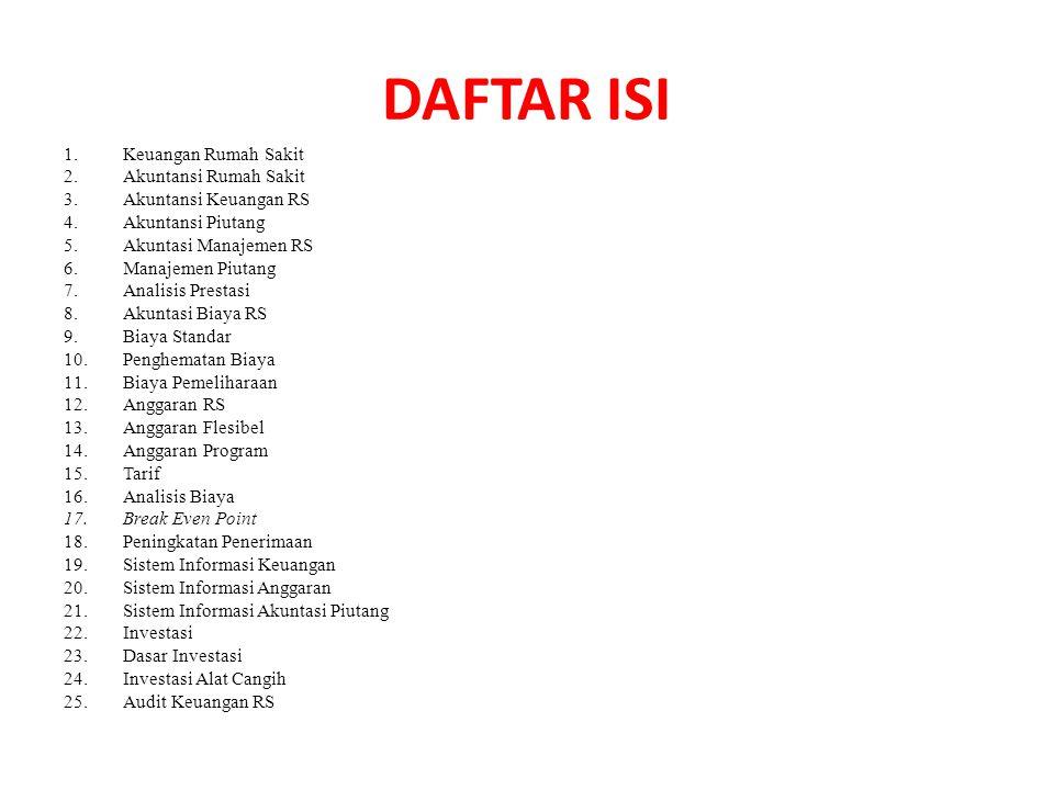 DAFTAR ISI Keuangan Rumah Sakit Akuntansi Rumah Sakit