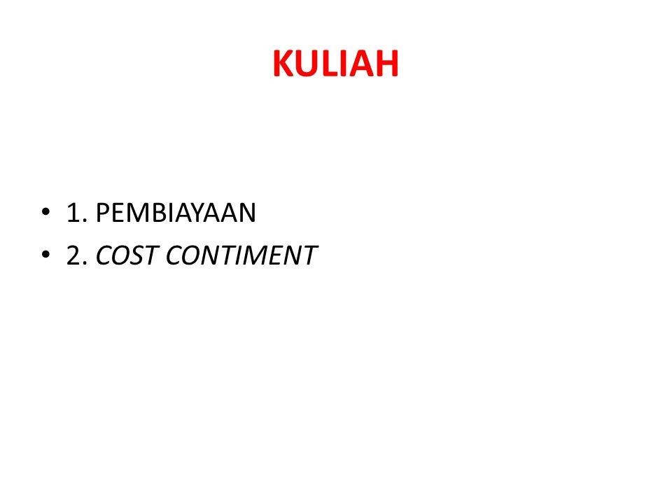 KULIAH 1. PEMBIAYAAN 2. COST CONTIMENT