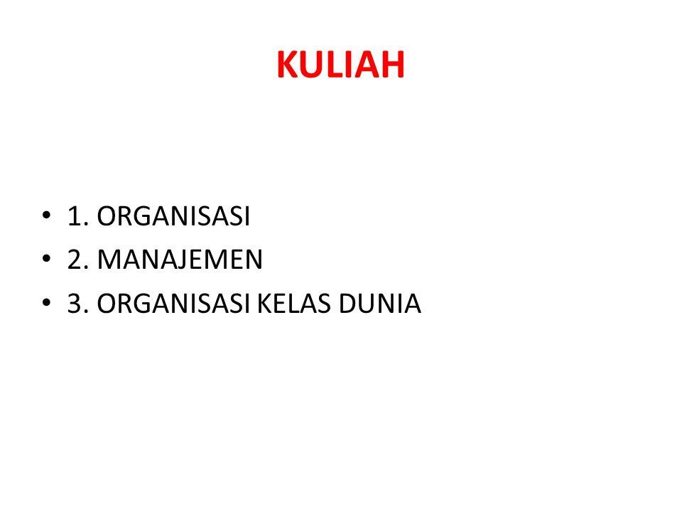 KULIAH 1. ORGANISASI 2. MANAJEMEN 3. ORGANISASI KELAS DUNIA