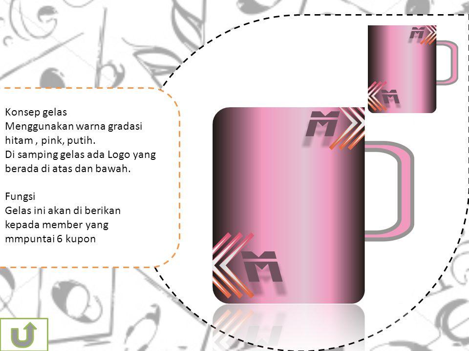 Konsep gelas Menggunakan warna gradasi hitam , pink, putih. Di samping gelas ada Logo yang berada di atas dan bawah.