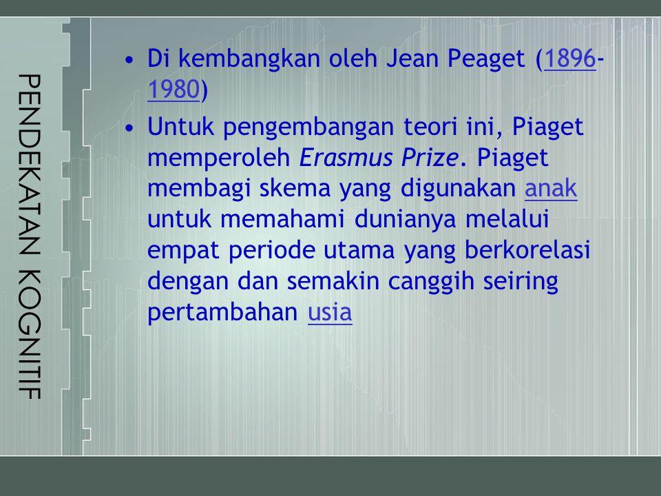 PENDEKATAN KOGNITIF Di kembangkan oleh Jean Peaget (1896-1980)