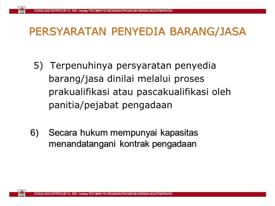 PERSYARATAN PENYEDIA BARANG/JASA