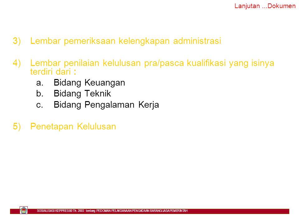 Lembar pemeriksaan kelengkapan administrasi