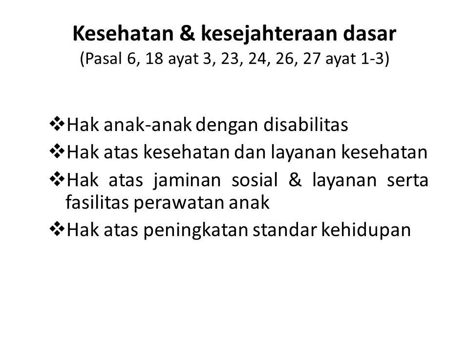 Kesehatan & kesejahteraan dasar (Pasal 6, 18 ayat 3, 23, 24, 26, 27 ayat 1-3)