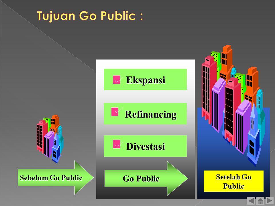 Tujuan Go Public : Ekspansi Refinancing Divestasi Go Public