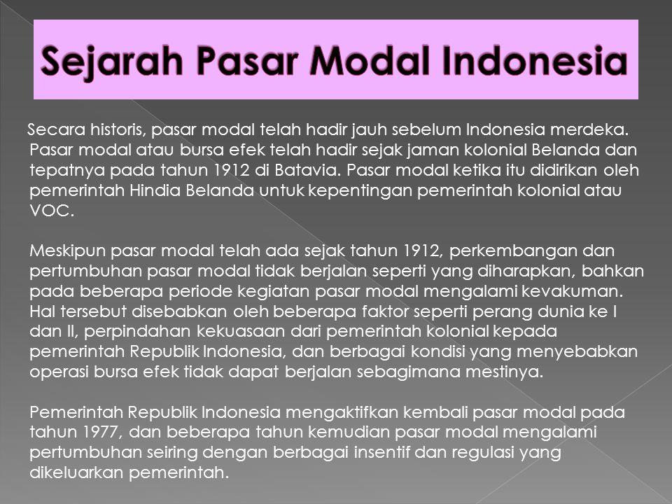 Sejarah Pasar Modal Indonesia