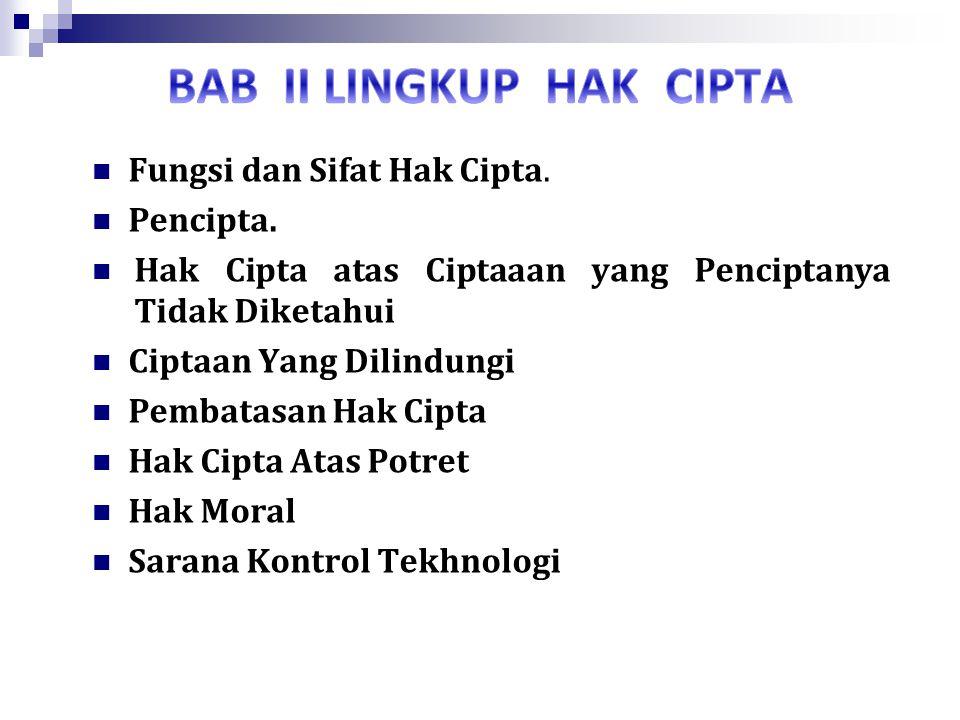 BAB II LINGKUP HAK CIPTA
