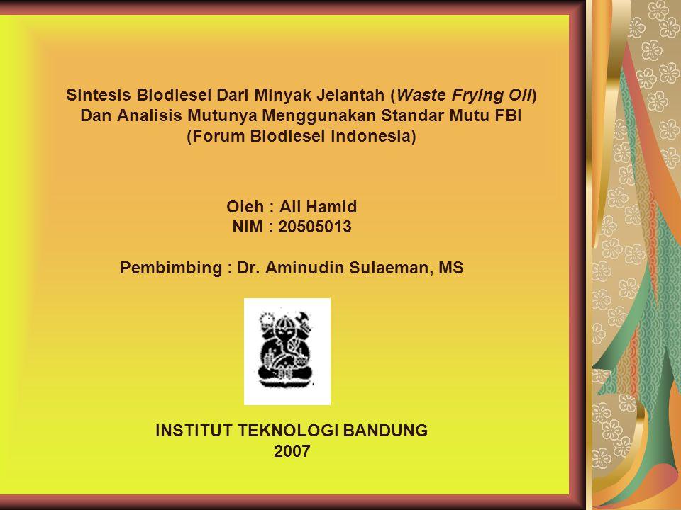Pembimbing : Dr. Aminudin Sulaeman, MS INSTITUT TEKNOLOGI BANDUNG