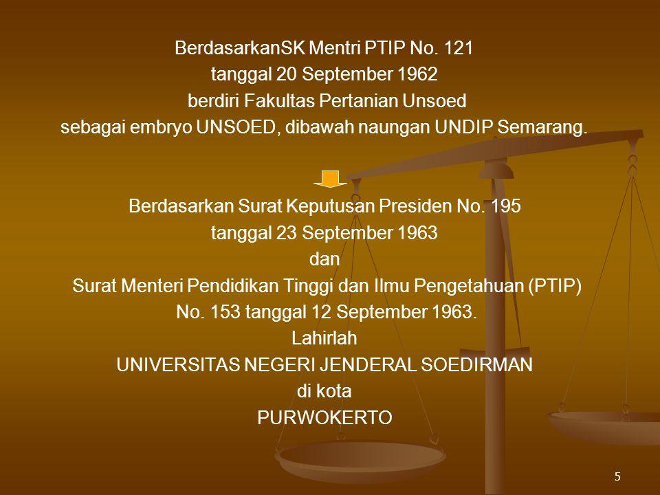 BerdasarkanSK Mentri PTIP No. 121 tanggal 20 September 1962