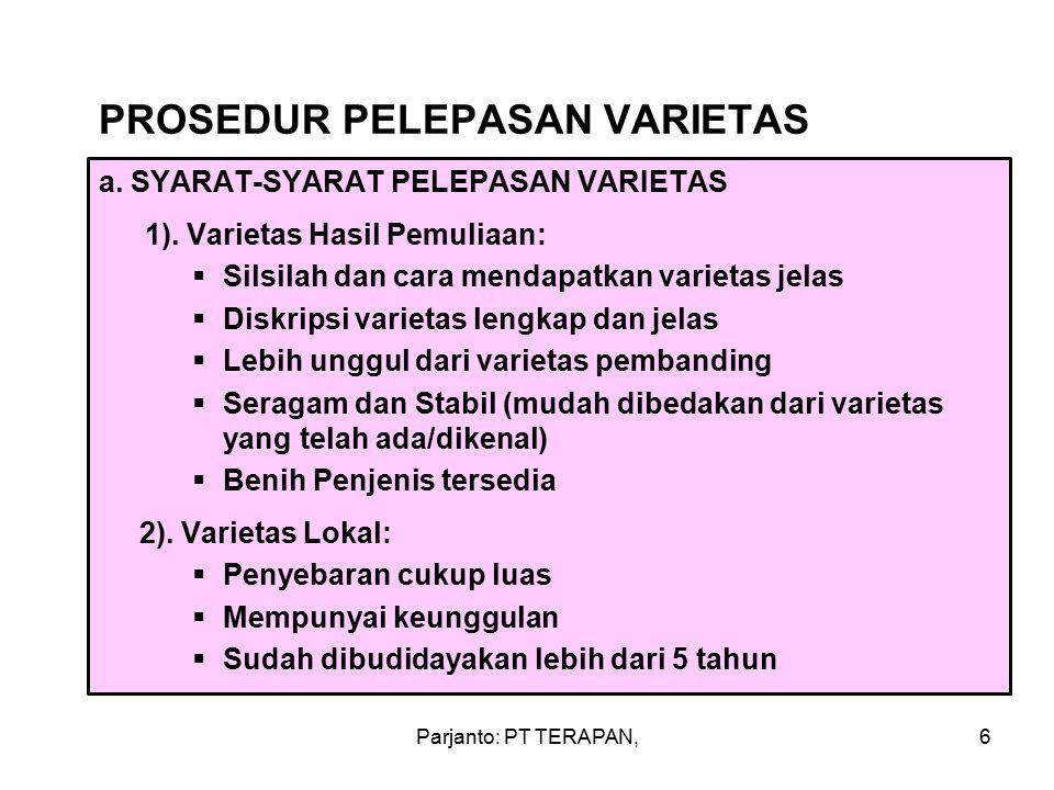 PROSEDUR PELEPASAN VARIETAS