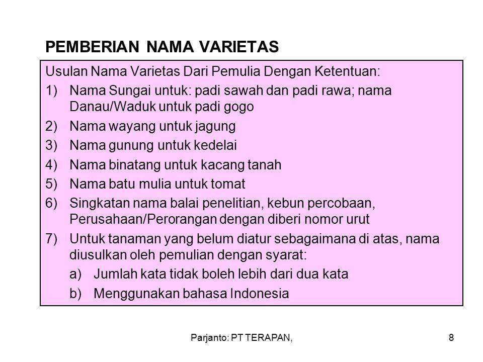 PEMBERIAN NAMA VARIETAS