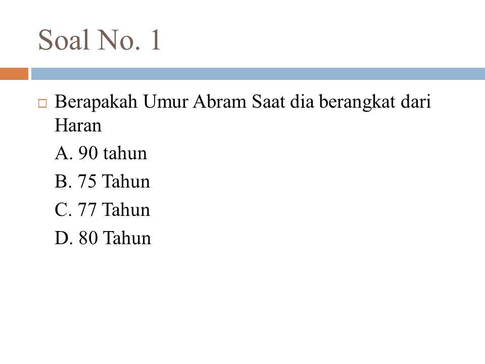 Soal No. 1 Berapakah Umur Abram Saat dia berangkat dari Haran