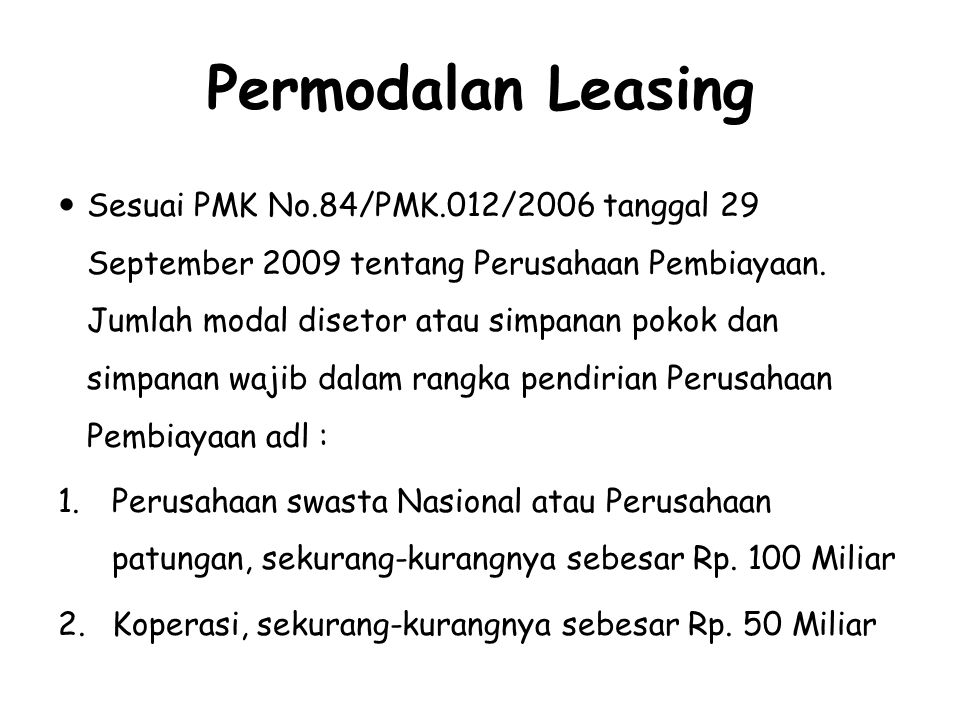 Permodalan Leasing