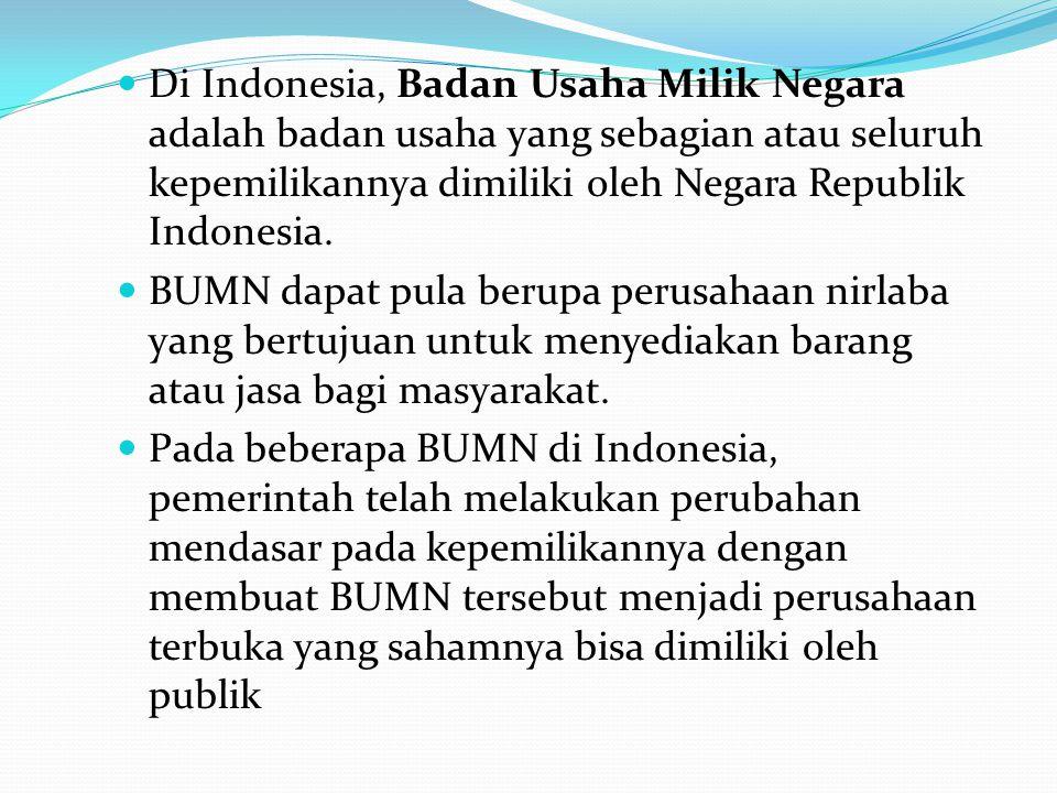 Di Indonesia, Badan Usaha Milik Negara adalah badan usaha yang sebagian atau seluruh kepemilikannya dimiliki oleh Negara Republik Indonesia.