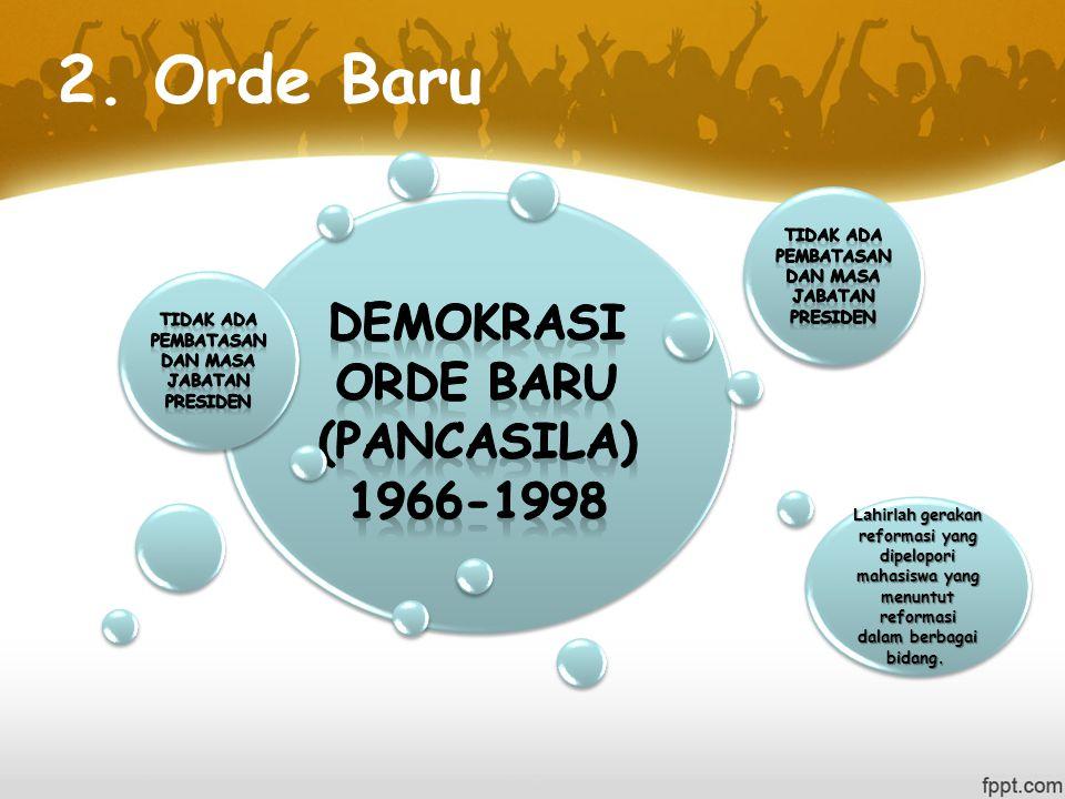 2. Orde Baru Demokrasi orde baru (pancasila) 1966-1998