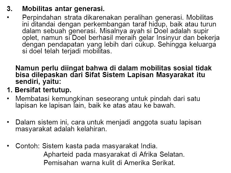 3. Mobilitas antar generasi.