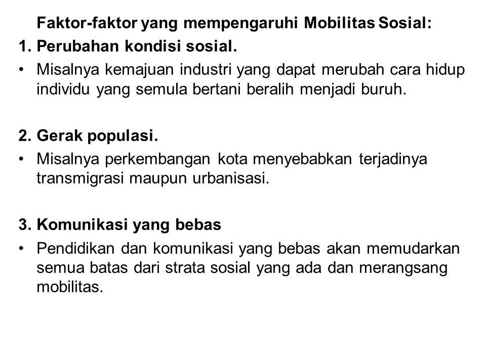 Faktor-faktor yang mempengaruhi Mobilitas Sosial: