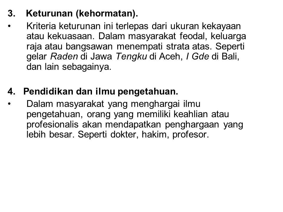 3. Keturunan (kehormatan).