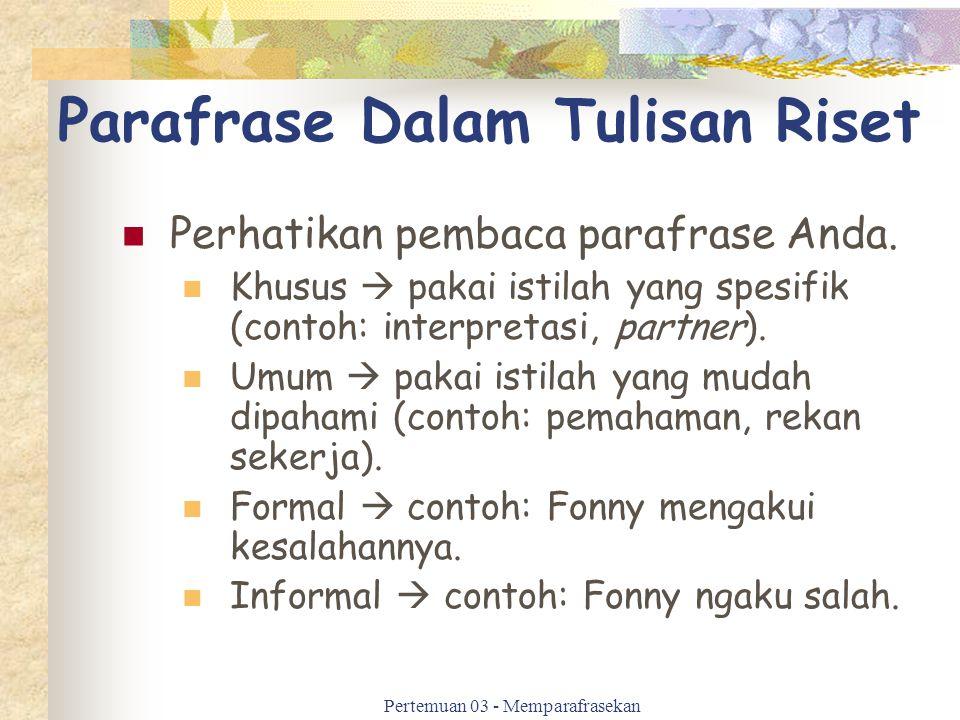 Parafrase Dalam Tulisan Riset