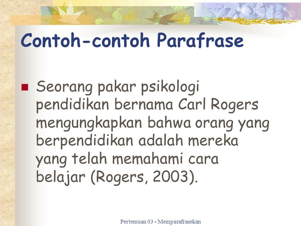 Contoh-contoh Parafrase