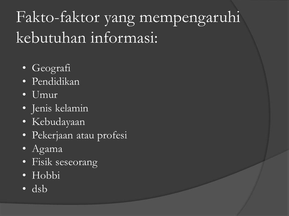 Fakto-faktor yang mempengaruhi kebutuhan informasi:
