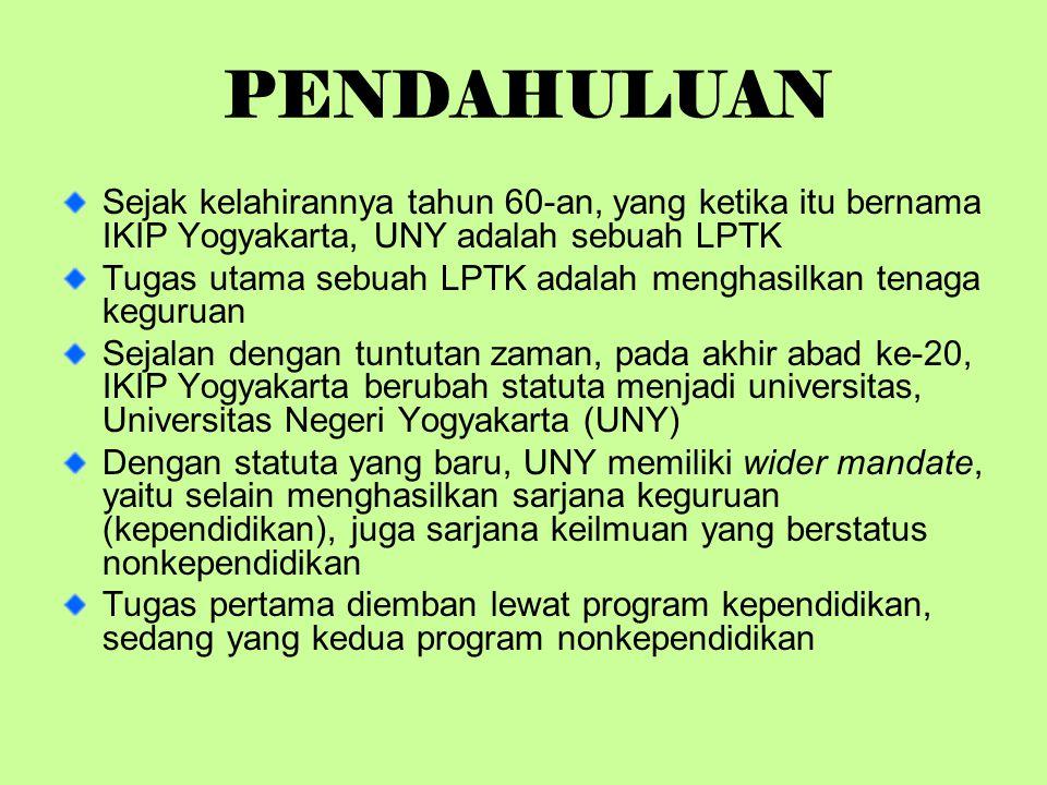 PENDAHULUAN Sejak kelahirannya tahun 60-an, yang ketika itu bernama IKIP Yogyakarta, UNY adalah sebuah LPTK.