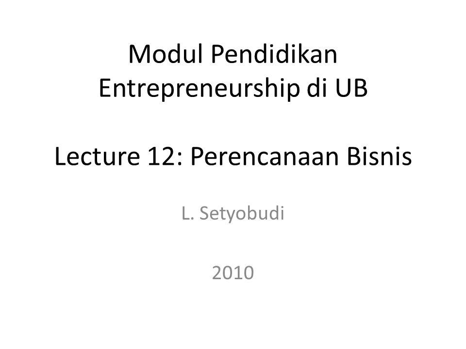 Modul Pendidikan Entrepreneurship di UB Lecture 12: Perencanaan Bisnis