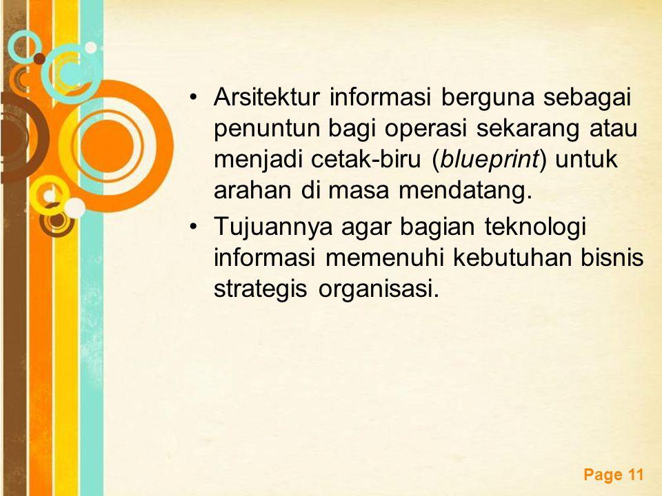 Arsitektur informasi berguna sebagai penuntun bagi operasi sekarang atau menjadi cetak-biru (blueprint) untuk arahan di masa mendatang.