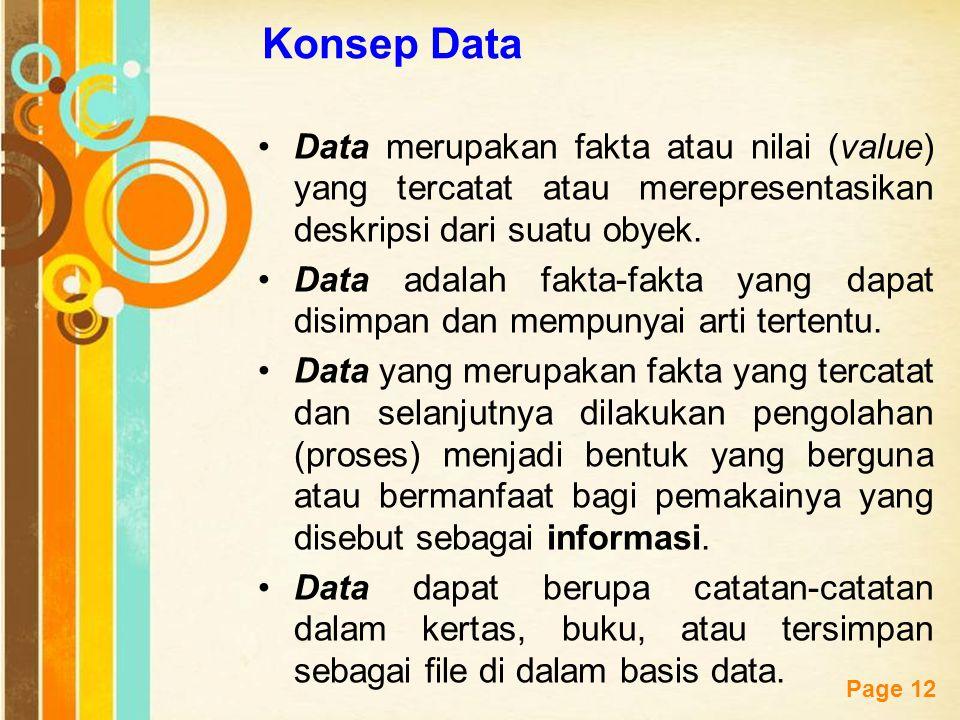Konsep Data Data merupakan fakta atau nilai (value) yang tercatat atau merepresentasikan deskripsi dari suatu obyek.