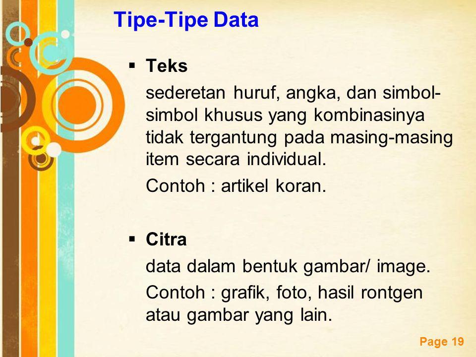 Tipe-Tipe Data Teks. sederetan huruf, angka, dan simbol-simbol khusus yang kombinasinya tidak tergantung pada masing-masing item secara individual.