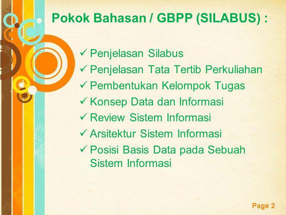 Pokok Bahasan / GBPP (SILABUS) :