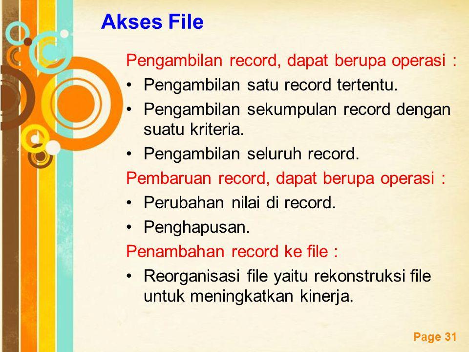 Akses File Pengambilan record, dapat berupa operasi :