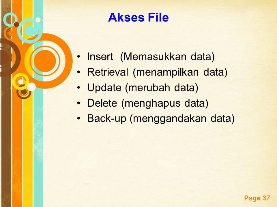 Akses File Insert (Memasukkan data) Retrieval (menampilkan data)