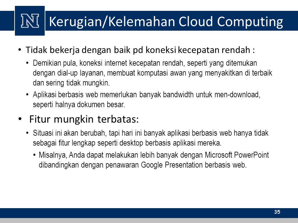 Kerugian/Kelemahan Cloud Computing