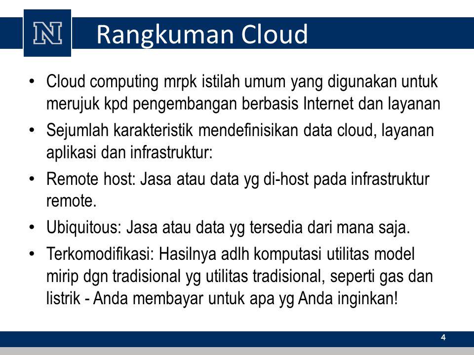 Rangkuman Cloud Cloud computing mrpk istilah umum yang digunakan untuk merujuk kpd pengembangan berbasis Internet dan layanan.