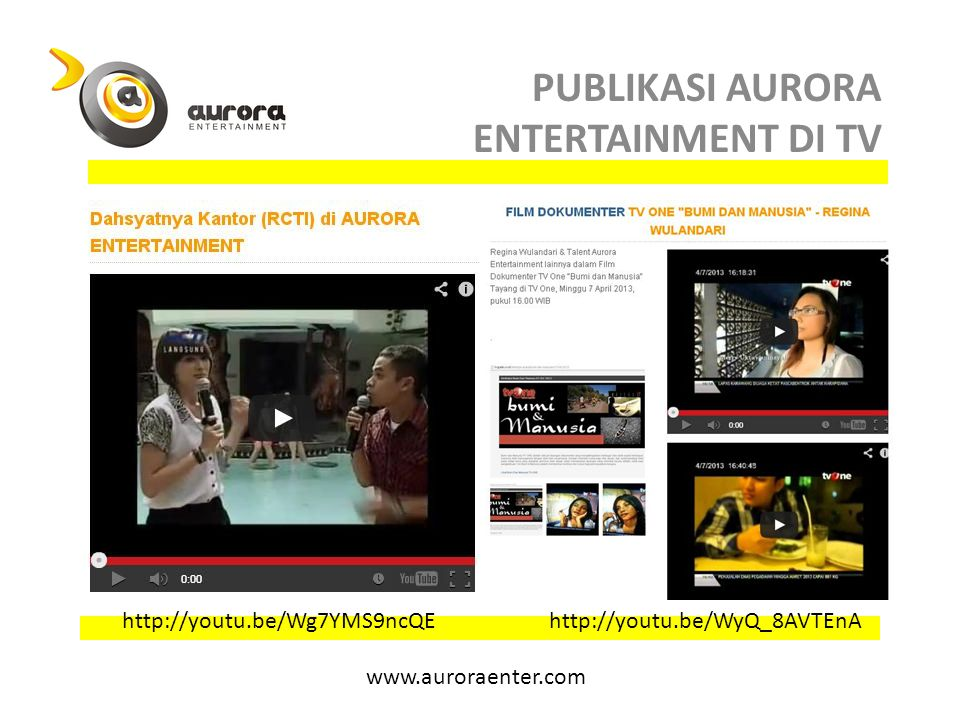 PUBLIKASI AURORA ENTERTAINMENT DI TV