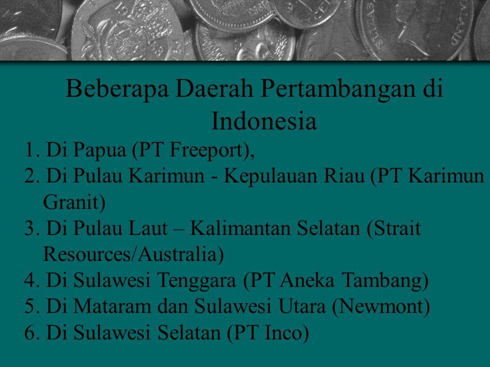 Beberapa Daerah Pertambangan di Indonesia