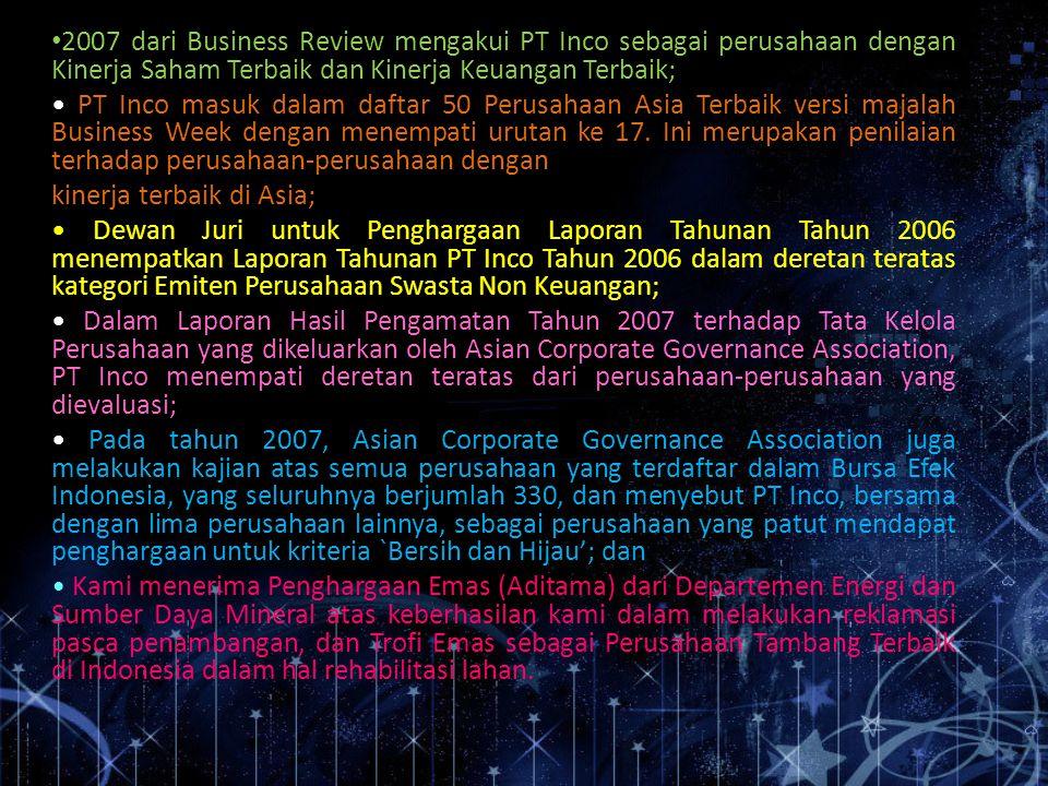 2007 dari Business Review mengakui PT Inco sebagai perusahaan dengan Kinerja Saham Terbaik dan Kinerja Keuangan Terbaik;