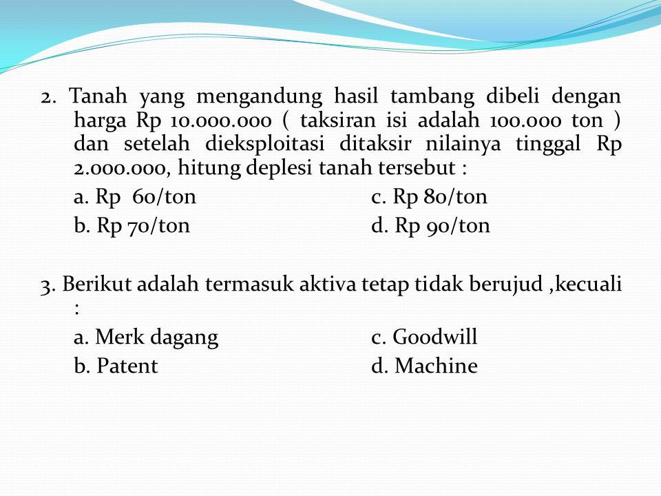 2. Tanah yang mengandung hasil tambang dibeli dengan harga Rp 10. 000
