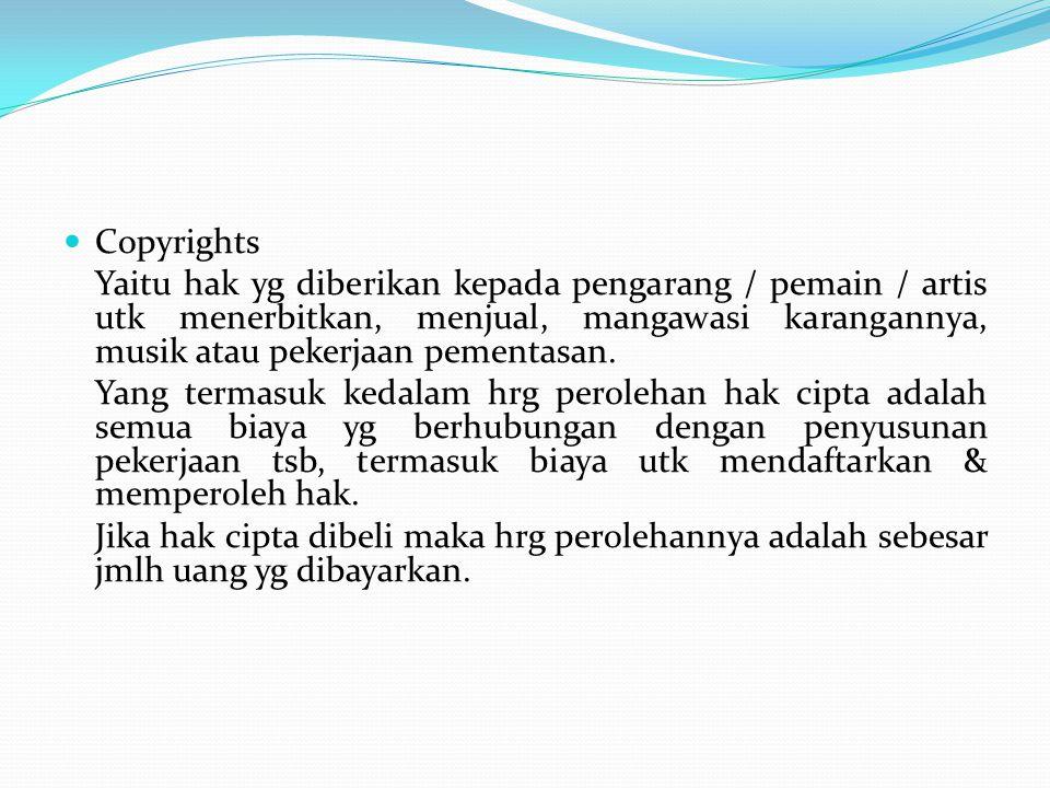 Copyrights Yaitu hak yg diberikan kepada pengarang / pemain / artis utk menerbitkan, menjual, mangawasi karangannya, musik atau pekerjaan pementasan.