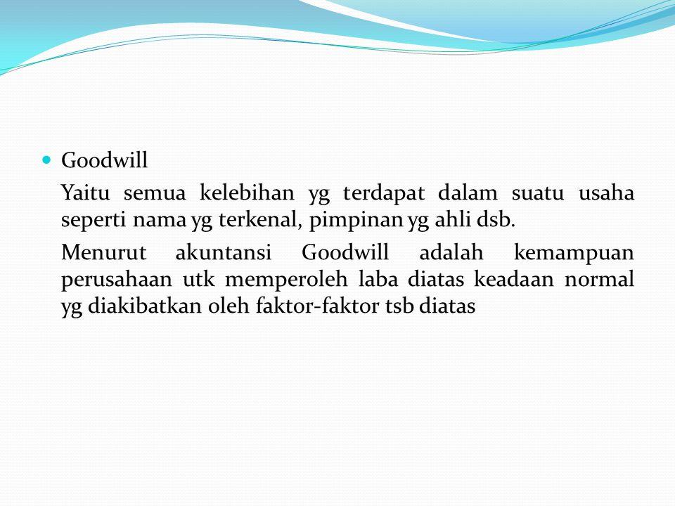 Goodwill Yaitu semua kelebihan yg terdapat dalam suatu usaha seperti nama yg terkenal, pimpinan yg ahli dsb.