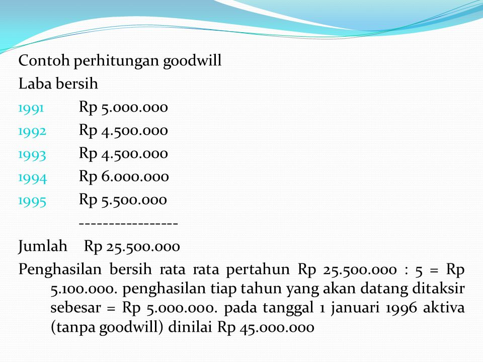 Contoh perhitungan goodwill