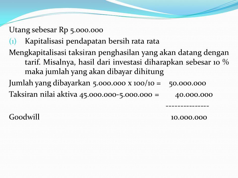 Utang sebesar Rp 5.000.000 Kapitalisasi pendapatan bersih rata rata.