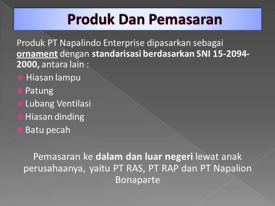 Produk Dan Pemasaran Produk PT Napalindo Enterprise dipasarkan sebagai ornament dengan standarisasi berdasarkan SNI 15-2094-2000, antara lain :