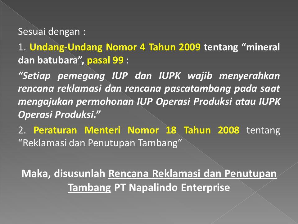Sesuai dengan : 1. Undang-Undang Nomor 4 Tahun 2009 tentang mineral dan batubara , pasal 99 :