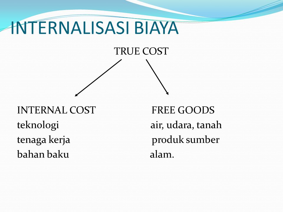 INTERNALISASI BIAYA TRUE COST INTERNAL COST FREE GOODS