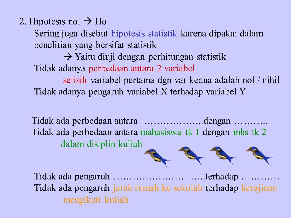 2. Hipotesis nol  Ho Sering juga disebut hipotesis statistik karena dipakai dalam. penelitian yang bersifat statistik.